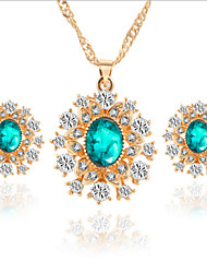 cheap -Crystal Jewelry Set Pendant Necklace Oval Cut Snowflake Ladies Party Fashion Cubic Zirconia Rose Gold Plated Earrings Jewelry White / Green / Blue For Wedding Party Special Occasion Anniversary