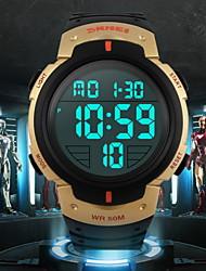 cheap -SKMEI Men's Sport Watch Wrist Watch Digital Watch Digital Water Resistant / Waterproof Digital Golden White Jade / Rubber / Alarm / Calendar / date / day / Chronograph / LCD