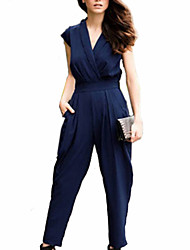 cheap -Women's Plus Size Work / Weekend V Neck Black Royal Blue Slim Jumpsuit Onesie, Solid Colored S M L Short Sleeve Summer