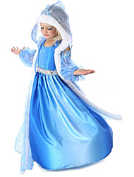 cheap -Princess Fairytale Elsa Cosplay Costume Flower Girl Dress Girls' Movie Cosplay A-Line Slip Fur Trim Blue Coat Dress Gloves Halloween New Year Chiffon
