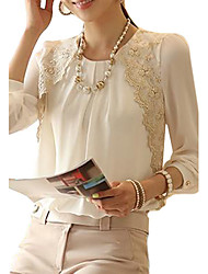cheap -Women's Formal Work Weekend Basic Blouse - Solid Colored Lace / Ruched Crew Neck White