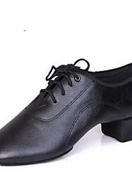 cheap -Men's Dance Shoes Leather Latin Shoes Lace-up Heel / Split Sole Low Heel Non Customizable Black / Indoor / EU42