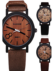 cheap -Men's Wrist Watch Quartz Quilted PU Leather Black / Brown / Grey Analog Vintage Wood - Gray Coffee Brown One Year Battery Life / Stainless Steel