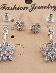 cheap -Women's Cubic Zirconia Drop Earrings Snowflake Cubic Zirconia Silver Plated Earrings Jewelry Silver / Rose Gold For