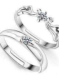 cheap -Couple's Couple Rings wrap ring 2pcs Sterling Silver Ladies Fashion Bridal Wedding Party Jewelry / Zircon