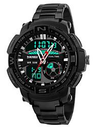 cheap -Men's Sport Watch Wrist Watch Quartz Stainless Steel Black / Silver 30 m Water Resistant / Waterproof Alarm Calendar / date / day Analog - Digital Black Silver White / Black Two Years Battery Life