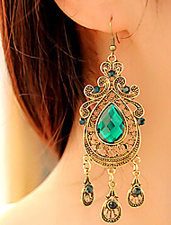 cheap -Women's Crystal Drop Earrings Hanging Earrings Pear Cut filigree Drop Ladies Vintage European Fashion Elegant Victorian Earrings Jewelry Green For