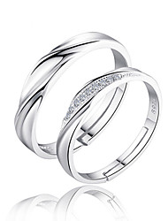 cheap -Couple's Couple Rings Band Ring Cubic Zirconia 2pcs Silver Sterling Silver Zircon Circle Ladies Bridal Wedding Party Jewelry Twisted Love Friendship