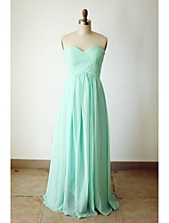 cheap -A-Line Sweetheart Neckline Floor Length Chiffon Bridesmaid Dress with Criss Cross by LAN TING Express