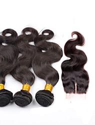 Недорогие -Бразильские волосы Естественные кудри 300 g Волосы Уток с закрытием Ткет человеческих волос Расширения человеческих волос
