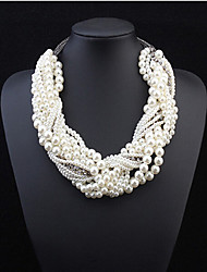 cheap -Women's Pearl Statement Necklace Layered Necklace Pearl Necklace Layered Twisted Seed Pearls Chinese Knot Statement Ladies European Fashion Pearl Alloy Screen Color Necklace Jewelry For