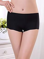 cheap -Women's Shorties & Boyshorts Panties / Seamless Panties Solid Colored Mid Waist Black Light Blue White One-Size