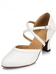 cheap -Women's Dance Shoes Leather / Patent Leather Modern Shoes Sequin Heel Cuban Heel Non Customizable White / Performance / Practice / Professional / EU40