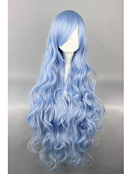 cheap -Lolita Wigs Sweet Lolita Dress Blue Elegant Lolita Wig 35 inch Cosplay Wigs Solid Colored Wig Halloween Wigs