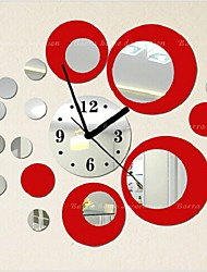 cheap -Wall Clock,Fashion Acryic / Polyester Round / Decorative Wall Stickers / Clock Stickers / Removable