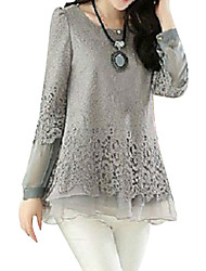 cheap -Women's Plus Size Solid Colored Layered Puff Sleeve Loose Blouse - Cotton Basic Daily Weekend Black / Beige / Gray
