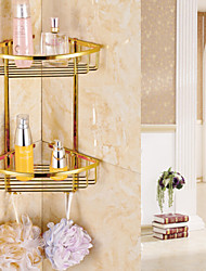 cheap -Gold Finish Bathroom Double-deck Brass Material Triangular Storage Basket
