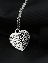cheap -Women's Pendant Necklace Heart Love Hollow Heart Alloy Silver Necklace Jewelry For Wedding Party Daily Casual
