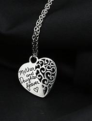 Недорогие -Жен. Ожерелья с подвесками Сердце Любовь Полое сердце Сплав Серебряный Ожерелье Бижутерия Назначение Свадьба Для вечеринок Повседневные