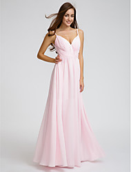 cheap -A-Line V Neck / Spaghetti Strap Floor Length Chiffon Bridesmaid Dress with Side Draping / Criss Cross