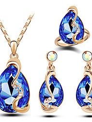 cheap -Women's Crystal Jewelry Set Pear Cut Solitaire Drop Mood Ladies Luxury Fashion Austria Crystal Earrings Jewelry Blue / Pink / Light Blue For Christmas Gifts Wedding Party Daily Casual / Rings