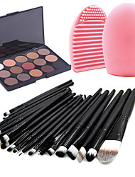 cheap -20 Pcs Makeup Brush Set Powder Foundation Eye shadow Eyeliner Lip Cosmetic Brushes with 15 matte Colors Eyeshadow Palette Blender Sponge and Brush Cleaner