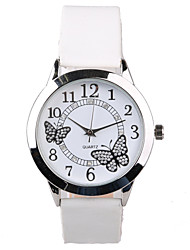 cheap -Women's Wrist Watch Quartz Quilted PU Leather White Water Resistant / Waterproof Imitation Diamond Analog Ladies Sparkle Butterfly Fashion Dress Watch - White One Year Battery Life / Tianqiu 377