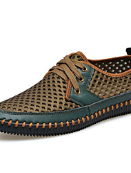 cheap -Men's Comfort Shoes Tulle Spring / Summer / Fall Oxfords Dark Brown / Army Green / Gray / Lace-up