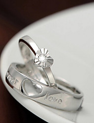 cheap -Couple Rings Silver Sterling Silver Ladies Fashion 2pcs One Size / Couple's / Couple's / Zircon