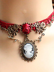 cheap -Women's Choker Necklace Pendant Necklace Gothic Jewelry Ladies Unique Design Tattoo Style European Lace Red Necklace Jewelry For Wedding Party Daily Casual Cosplay Costumes