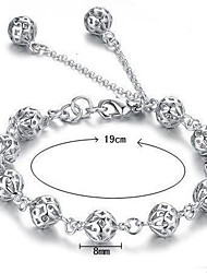 cheap -Women's Chain Bracelet Charm Bracelet Hollow Out Ladies Sterling Silver Bracelet Jewelry White For Wedding Party Daily Casual
