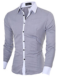 cheap -Men's Solid Colored Slim Shirt Business Casual Daily Work Classic Collar White / Black / Pink / Blue / Gray / Spring / Fall / Long Sleeve