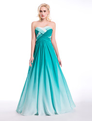 cheap -Formal Evening Dress - Color Gradient Ball Gown Sweetheart Floor-length Chiffon with Draping / Pattern / Print / Side Draping