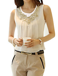 cheap -Women's Daily Weekend Street chic Plus Size Blouse - Solid Colored Lace / Beaded White