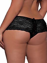 cheap -Women's Cotton / Lace Erotic Shorties & Boyshorts Panties / Ultra Sexy Panty - Plus Size, Jacquard Black White Purple M XL XXL