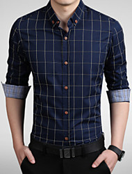 cheap -Men's Daily Work Business Plus Size Slim Shirt - Plaid Print Button Down Collar Wine / Long Sleeve / Spring / Fall