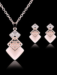 cheap -Lucky Doll Women's All Matching Luxury Gem Rose Gold Plated Necklace & Earrings  Jewelry Sets