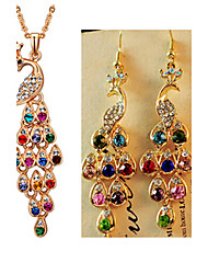 cheap -Crystal Jewelry Set Pendant Necklace Peacock Ladies Luxury Vintage Party Fashion Rhinestone Imitation Diamond Earrings Jewelry Rainbow For Party Special Occasion Anniversary Birthday Gift