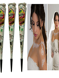 cheap -3pcs white henna cones tatoo tube indian temporary tattoo body paint for bridal wedding