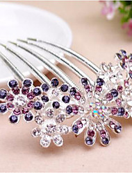 cheap -Women's Hair Combs For Wedding Party Daily Floral Theme Flower Rhinestone Alloy Purple Pink Blue