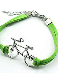 cheap -Women's Leather Bracelet Bike Love Ladies Silver Plated Bracelet Jewelry White / Black / Green For Christmas Gifts Party Daily Casual