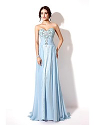 cheap -Sheath / Column Formal Evening Dress Sweetheart Neckline Court Train Chiffon with Crystals Beading 2021