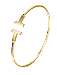cheap -Cuff Bracelet Ladies Simple Unique Design Party Work 18K Gold Plated Bracelet Jewelry Gold / Silver / Rose Gold For Christmas Gifts / Stainless Steel