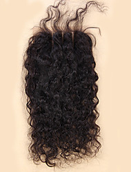cheap -12 inch braizlian lace closure free middle 3 part with baby hair loose wave virgin human hair 4x4 top lace closure