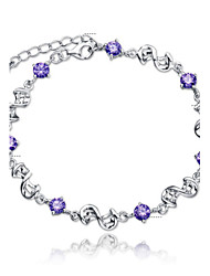 cheap -Women's Crystal Amethyst Chain Bracelet Charm Bracelet Ladies Simple Style Fashion Bridal Sterling Silver Bracelet Jewelry White / Purple For Wedding Party Daily Casual