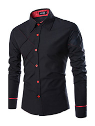 cheap -Men's Plus Size Solid Colored Slim Shirt Business Casual Daily Work Classic Collar Wine / White / Black / Purple / Blushing Pink / Navy Blue / Olive / Gray / Spring / Fall / Long Sleeve