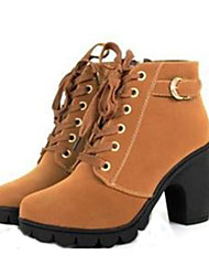 cheap -Women's Block Heel Boots Chunky Heel Lace-up Leatherette 20.32-25.4 cm / Mid-Calf Boots Combat Boots Fall / Winter Black / Yellow / Green / EU39