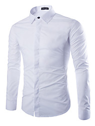 cheap -Men's Plus Size Solid Colored Slim Shirt Business Daily Formal Work Wine / White / Black / Navy Blue / Pink / Khaki / Brown / Light Blue / Long Sleeve