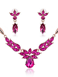 cheap -Crystal Amethyst Jewelry Set Statement Ladies Party Fashion Cute Elegant Rose Gold Plated Earrings Jewelry Fuchsia For Wedding Party Special Occasion Anniversary Birthday Gift / Necklace