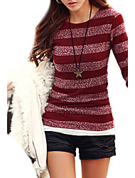 cheap -Women's Striped Pullover Cotton Long Sleeve Slim Regular Sweater Cardigans Round Neck Fall Black Red Blue